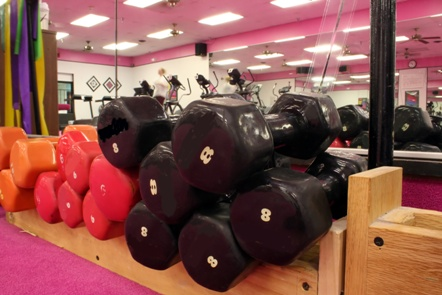Dumbells in a gym